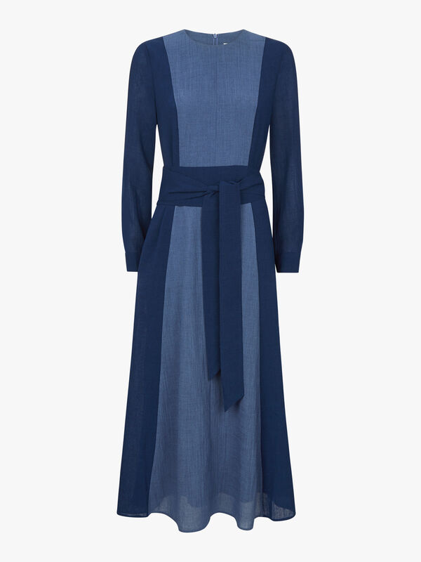 Long Sleeve Contrast Panel Maxi Dress