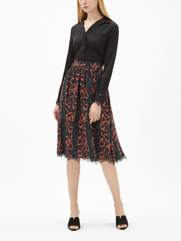 Python Lace Trim Skirt