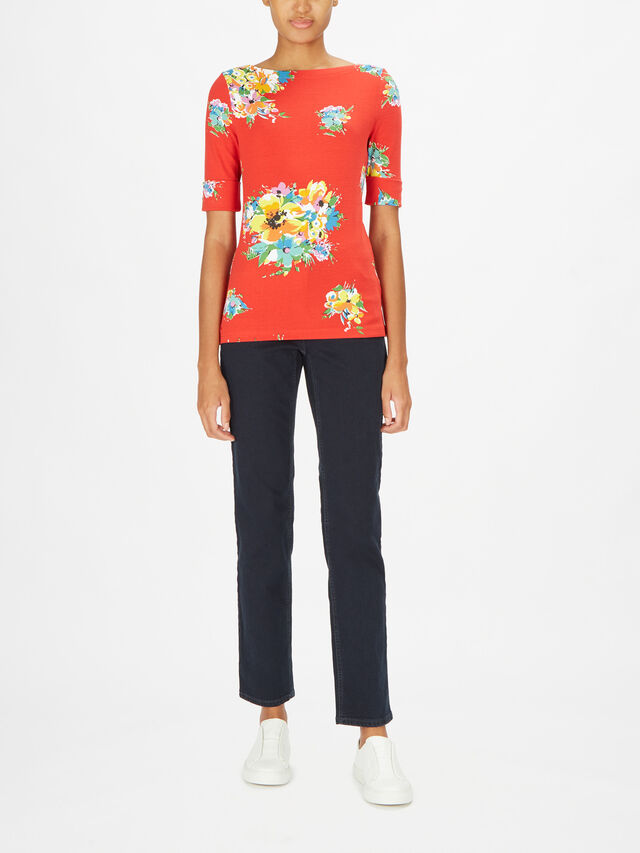 Judy Elbow Sleeve Riviera Floral Print Top