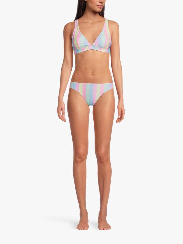 Pom Pom Trim Candy Stripe Print Bikini Bottom