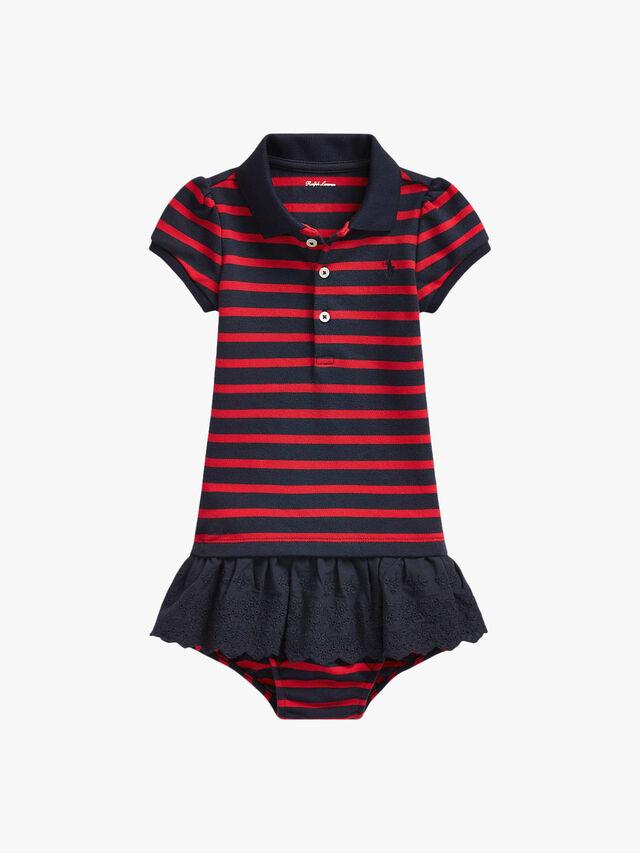 Eyelet-Skirt Polo Dress