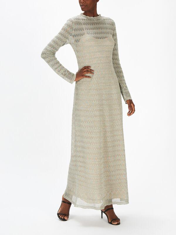 Lurex Long Sleeve Maxi Dress