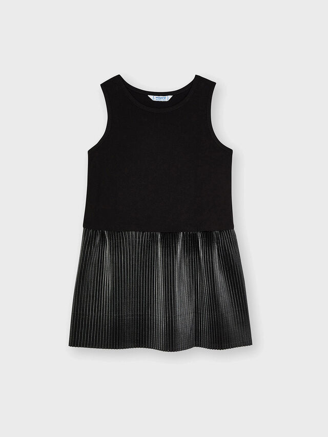 Combined sweater leatherette dress
