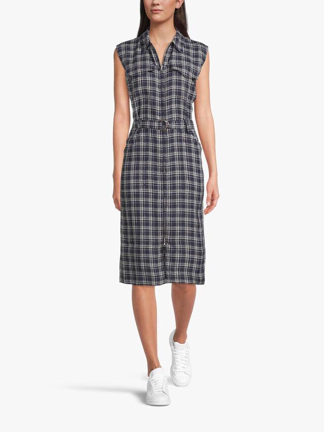 Checked linen dress