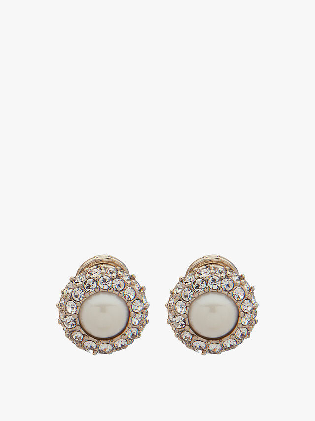 Gold Tone Micro Pave Pearl Clip On Earrings