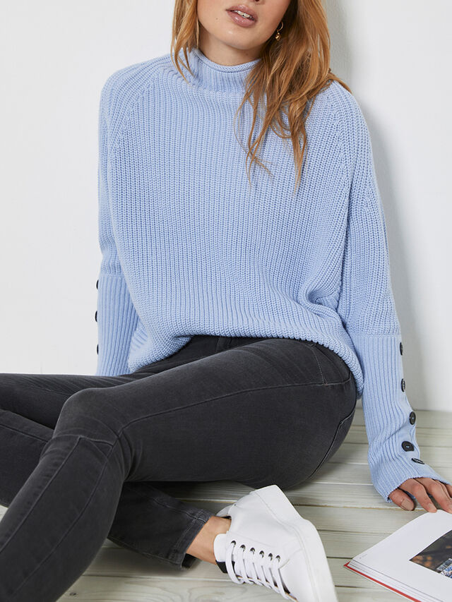 Blue Chunky Buttoned Jumper