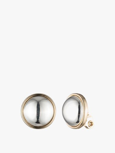 Two Tone Button Clip On Earrings