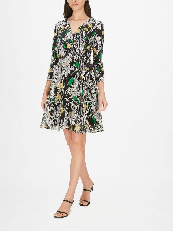 Irina Short Wrap Over Long Sleeve Dress