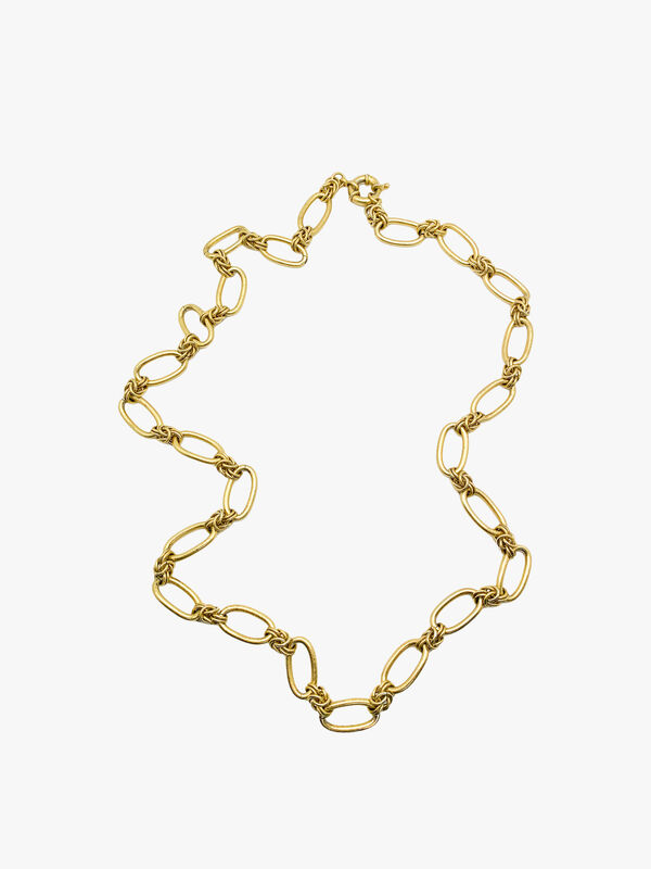Vintage Long Brushed Gold Chain Necklace