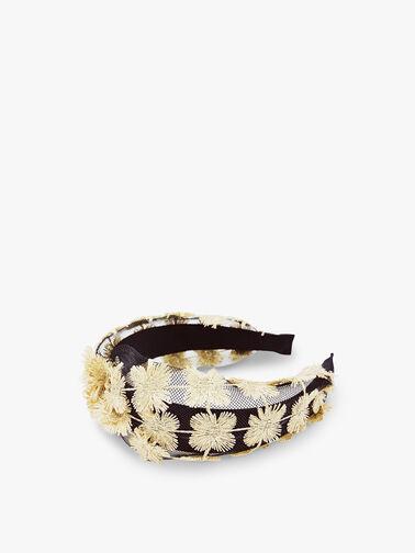 Metallic Floral And Net Headband