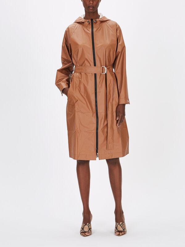 Mito Vegan Leather Hooded Coat