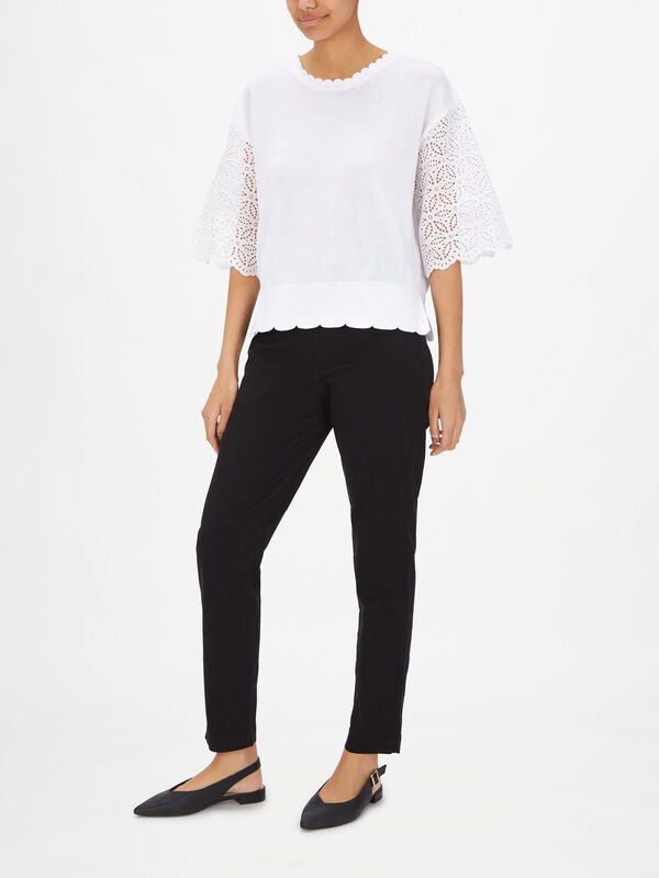 Scallop Hem Top With Broderie Anglaise Sleeve