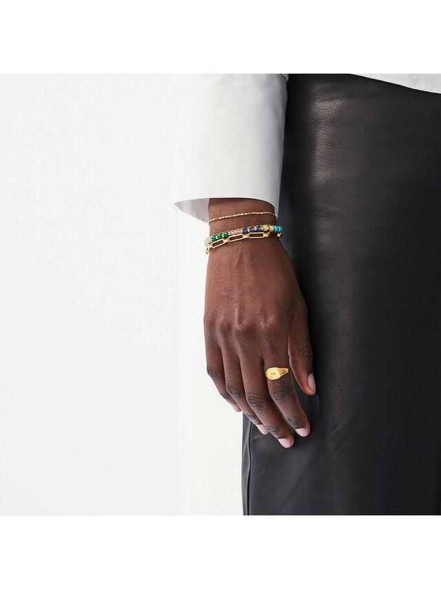 Gold Mix Stone2 Beaded Bracelet