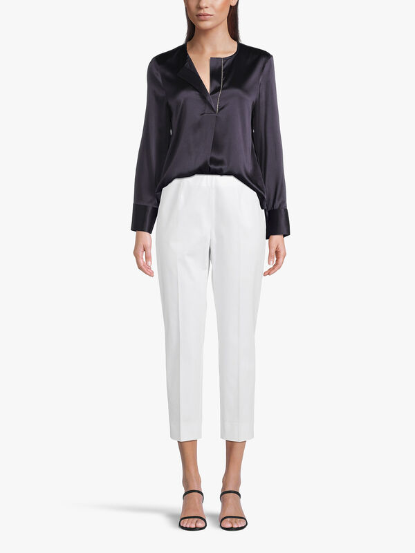 Ankle Grazer Cotton Stretch Side Zip Trouser With Ankle Split
