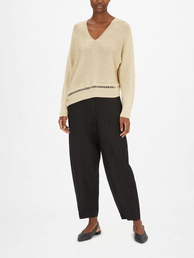 Linen Blend V Neck Asymmetric Hem Knit