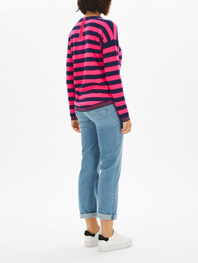 Wide Stripe Zip Back Crew Neck Knit