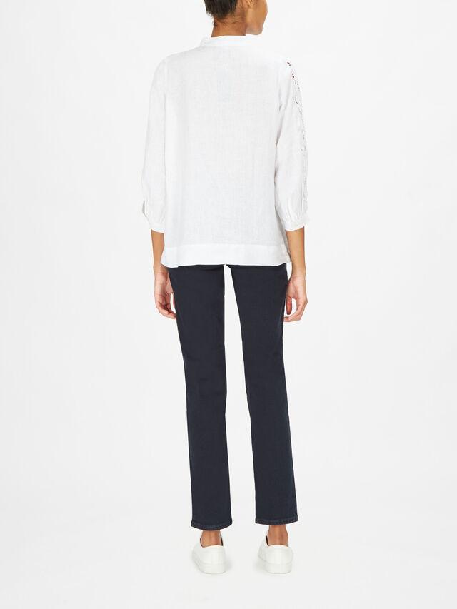 Alryana Mandarin Collar Pintuck Linen Blouse
