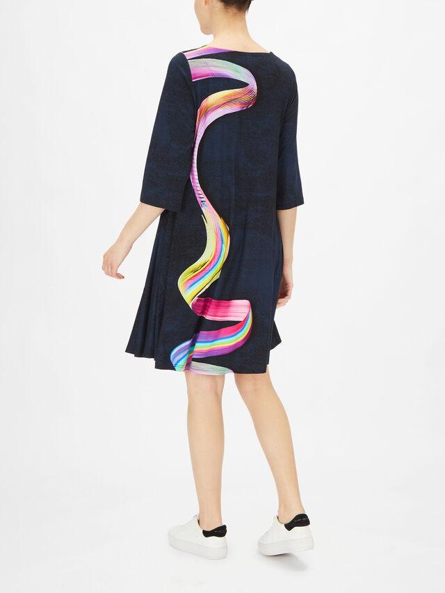 Stara Long Sleeve A Line Ribbon Print Dress