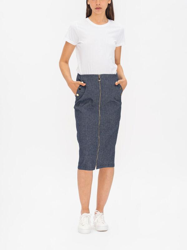 Minuetto Zip Down Denim Skirt