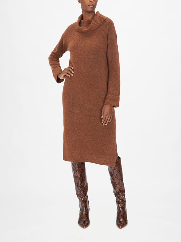 Cowl Neck Knitted Midi Dress