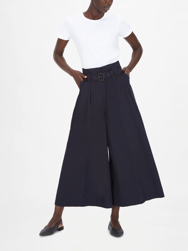 Wide Leg Cropped Trouser With Belt