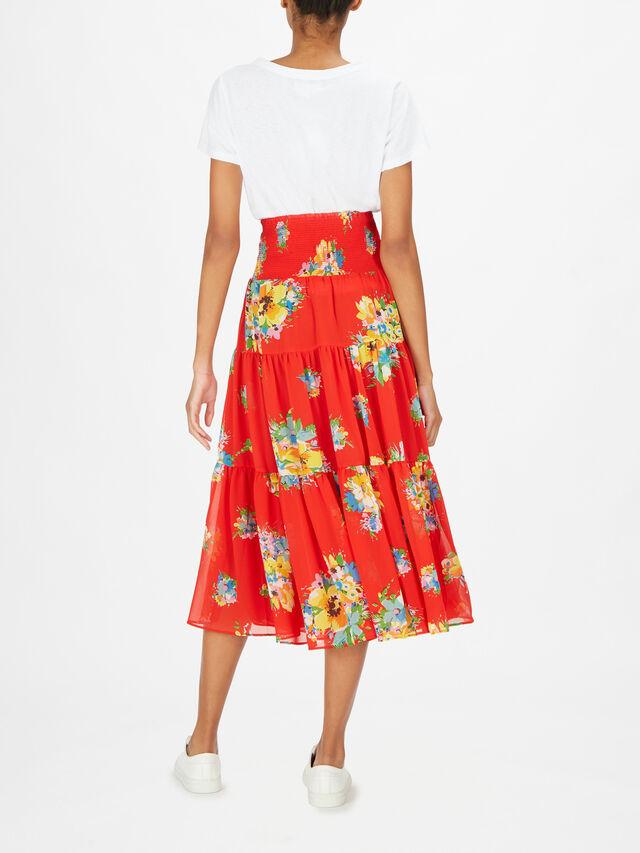 Vinnea Riviera Print Pleated Maxi Skirt