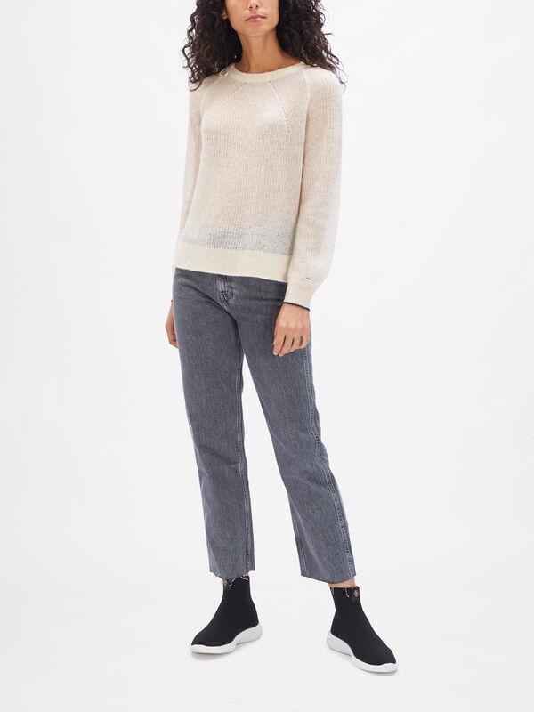Long Sleeve Alpaca Blend Rib Sweater