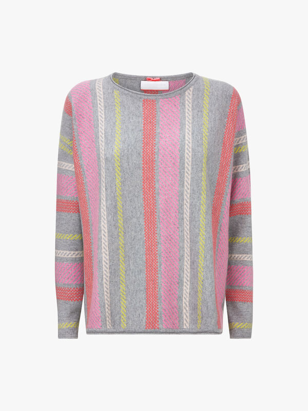 Multi Stitch Dip Hem Crew Neck Knit