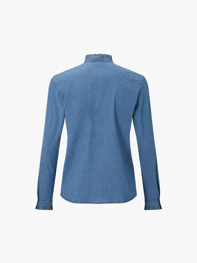 Chambray Ruffle Shirt