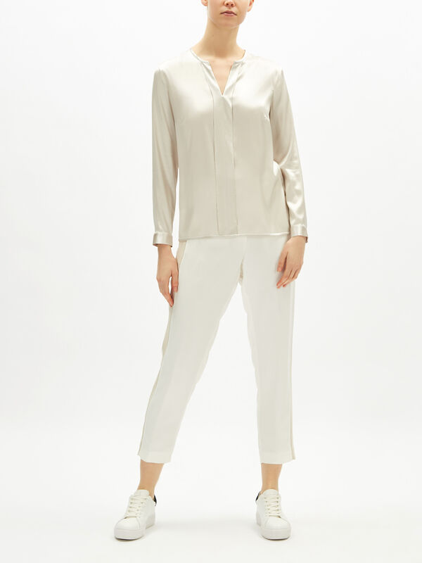 Silk Satin Chain Detail Shirt