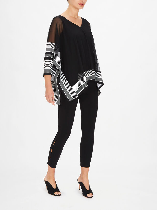 V Neck Chiffon Blouse with Stripe Print Cuff and Hem