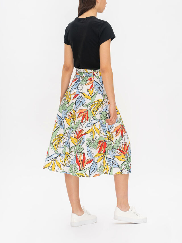 Fulcro Printed Midi Skirt With Tie Belt