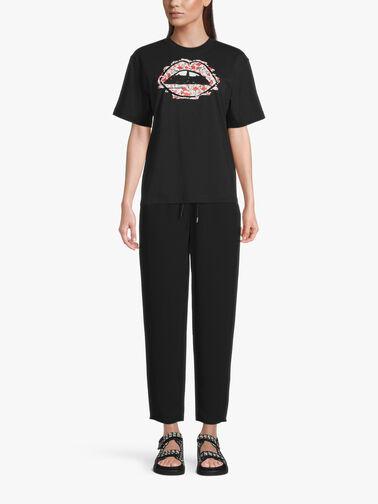 Black-Sequin-Outline-Floral-Lip-Tshirt-TEE549