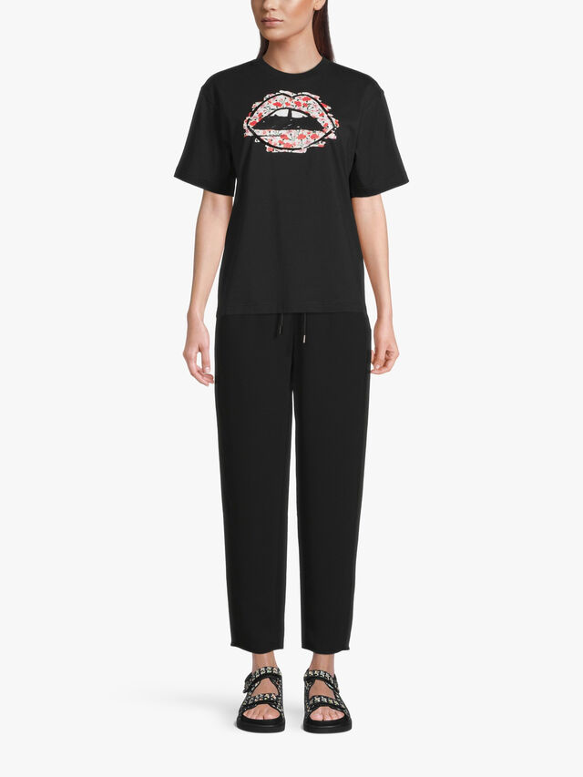 Black Sequin Outline Floral Lip T Shirt