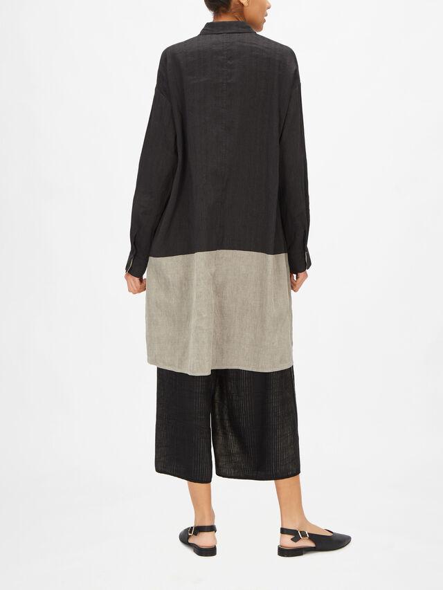 Long Sleeve Curved Hem Two Tone Long Linen Blend Shirt