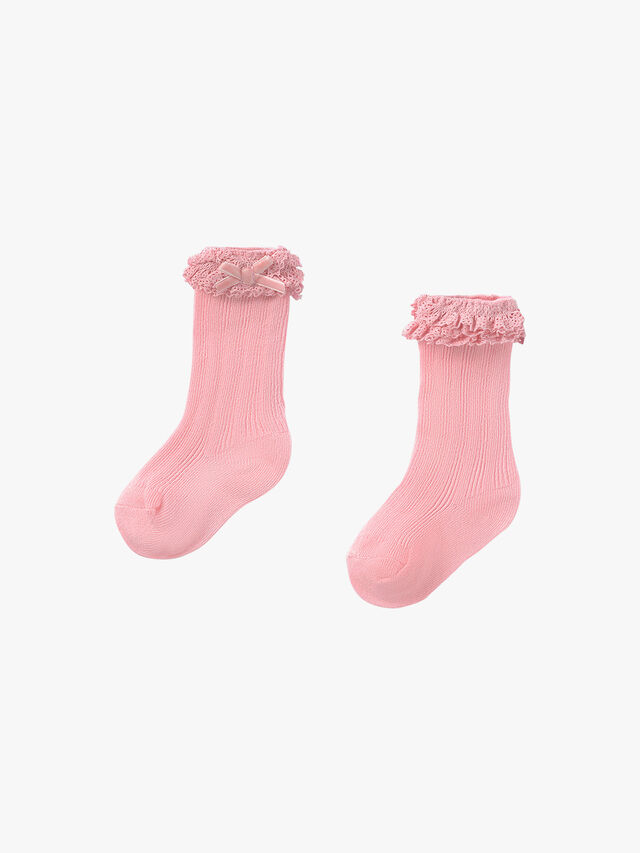 Bow & Ruffle Knee High Socks