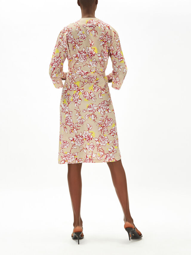 Printed Silk Blend Midi Dress