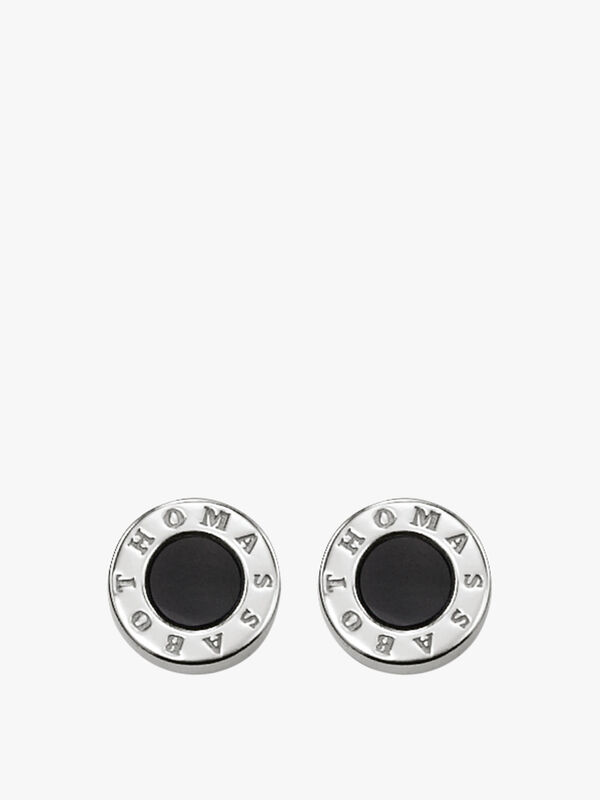 Logo Circle Black Centre Stud Earring