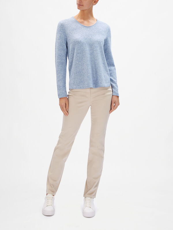 Melange Speckled Knit Contrast Trim