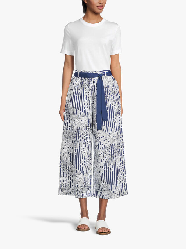 Volante Wide Leg Printed Culotte With Belt Tie