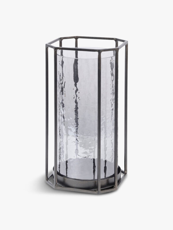 Bersa Large Faceted Hurricane Candle Holder