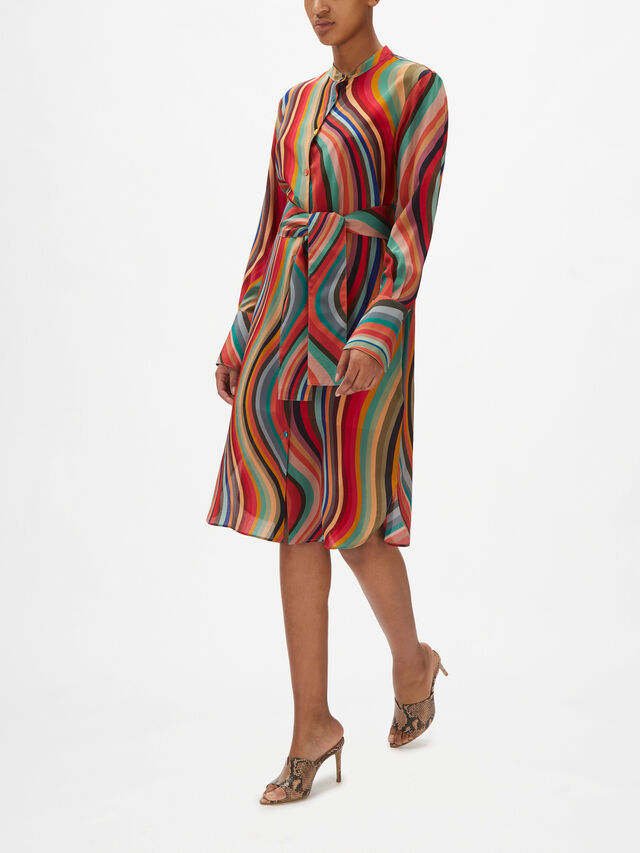 Long Sleeve Swirl Midi Dress With Waist Tie