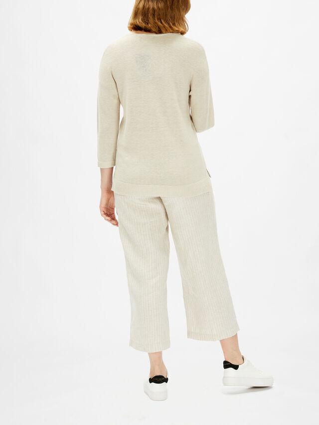 Linen Mix Vee Neck 3/4 Sleeve Knit