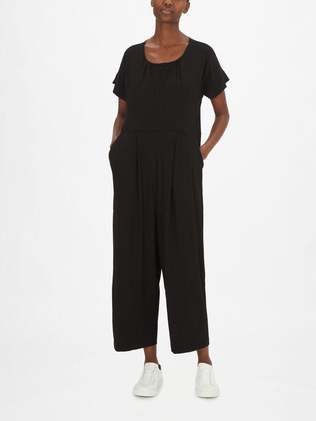 Netta Short Sleeve Jersey Jumpsuit with Zip Front Fastening