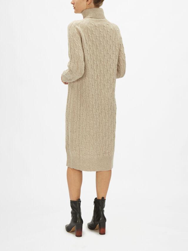 Leandra Cable Knit Roll Neck Midi Dress