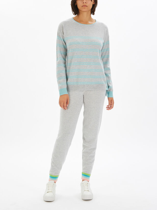 Button Side Crew Neck Stripe Knit