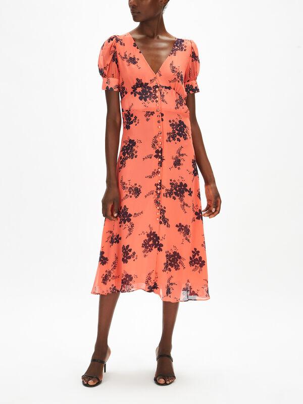 Button Down Puff Sleeve Midi Dress