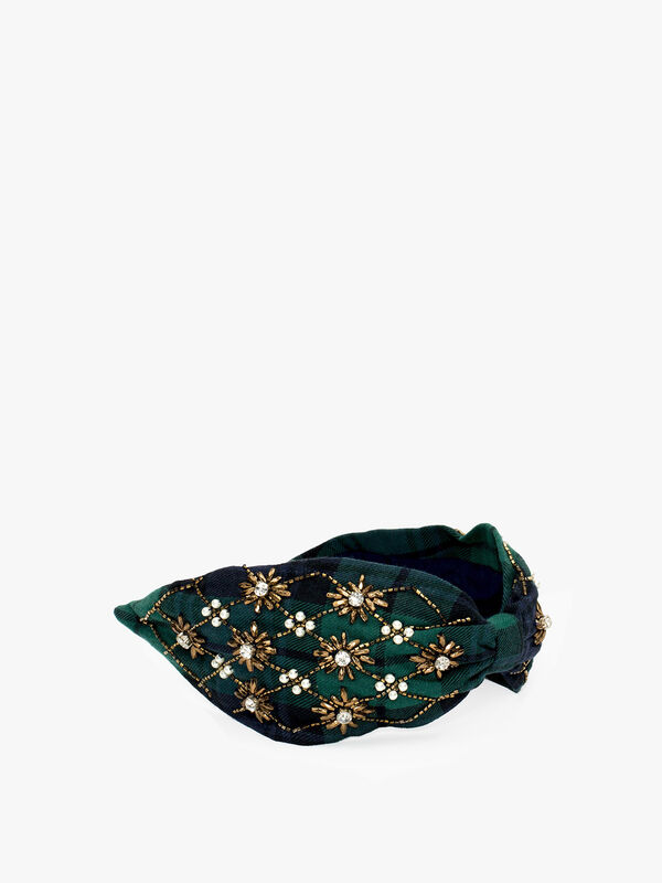 Embellished Plaid Headband