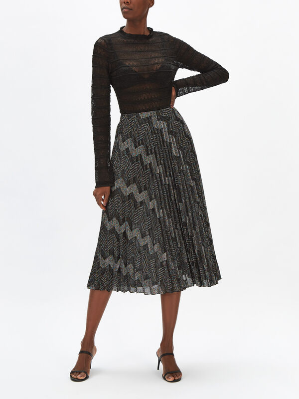 Jersey Zig Zag Lurex Pleated Skirt