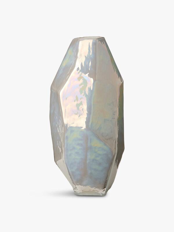 Medium White Graphic Luster Vase